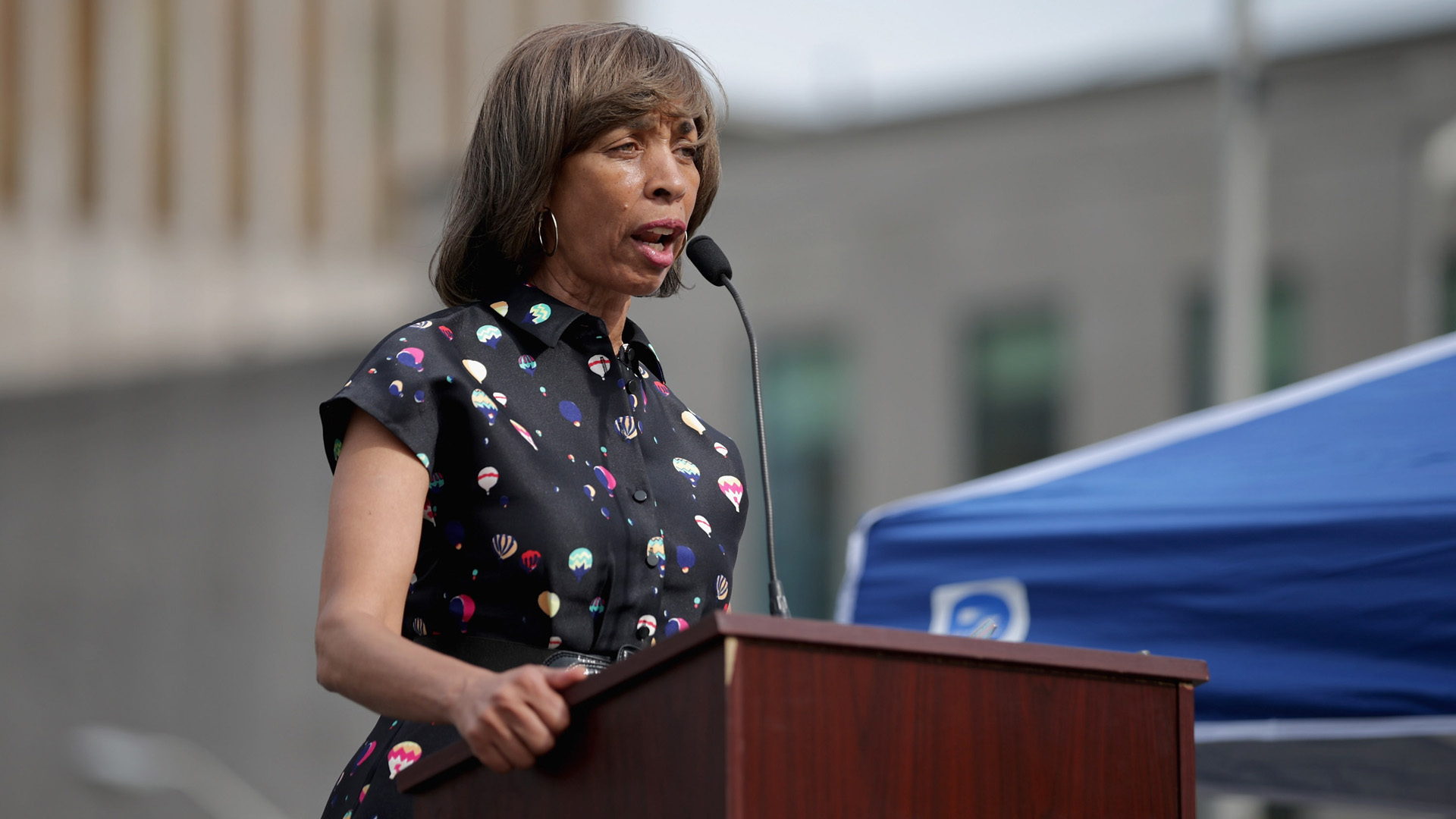 Baltimore mayor Catherine Pugh addresses a rally on April 25, 2016 in Baltimore, Maryland. (Credit: Chip Somodevilla/Getty Images)