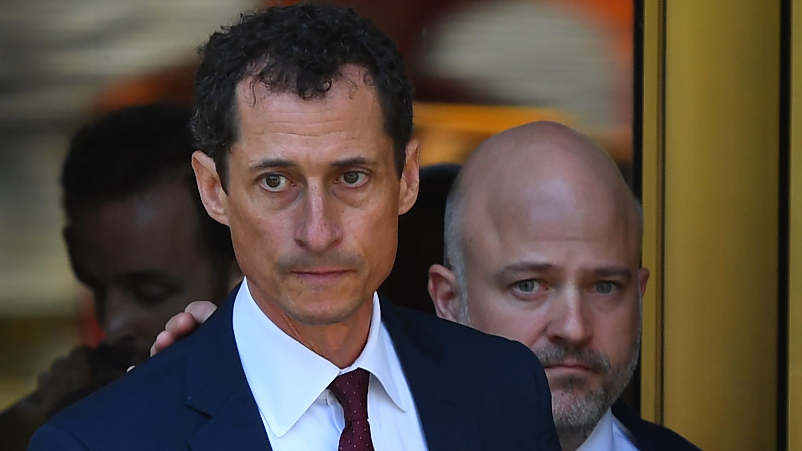 Former US Congressman Anthony Weiner leaves Federal Court in New York on May 19, 2017 after pleading guilty to one count of sending obscene messages to a minor. (Credit: TIMOTHY A. CLARY/AFP/Getty Images)