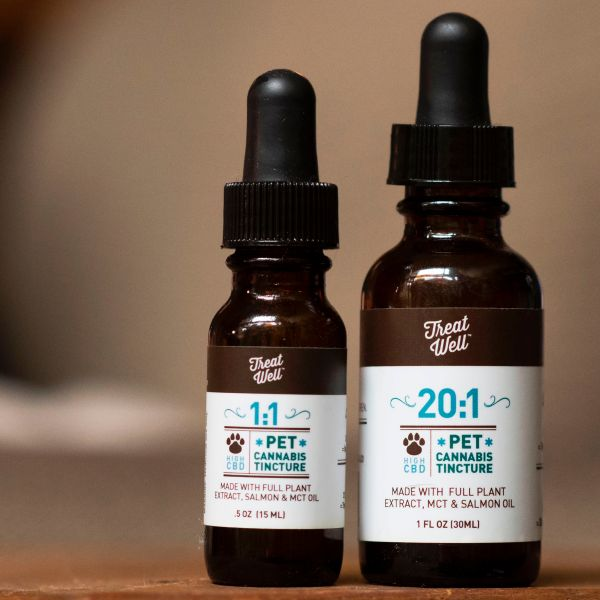 Bottles of TreatWell cannabis tinctures for pets, a liquid form of cannabis extraction that can be placed directly in an animal's mouth or on their food, are seen in Los Angeles on June 7, 2017. (Credit: Robyn Beck / AFP / Getty Images)