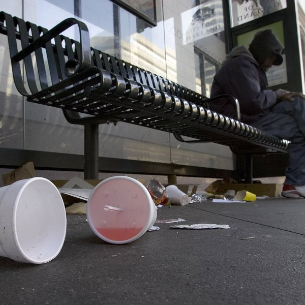 Used styrofoam cups are seen on the streets on Jan. 1, 2007, in Oakland, Calif. (Credit: David Paul Morris/Getty Images)