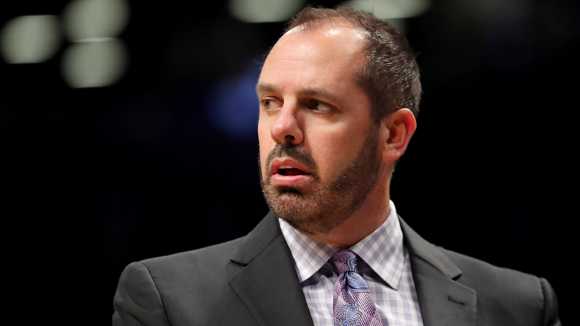 Frank Vogel reacts during a game at Barclays Center on Oct. 20, 2017, in New York City. (Credit: Abbie Parr/Getty Images)