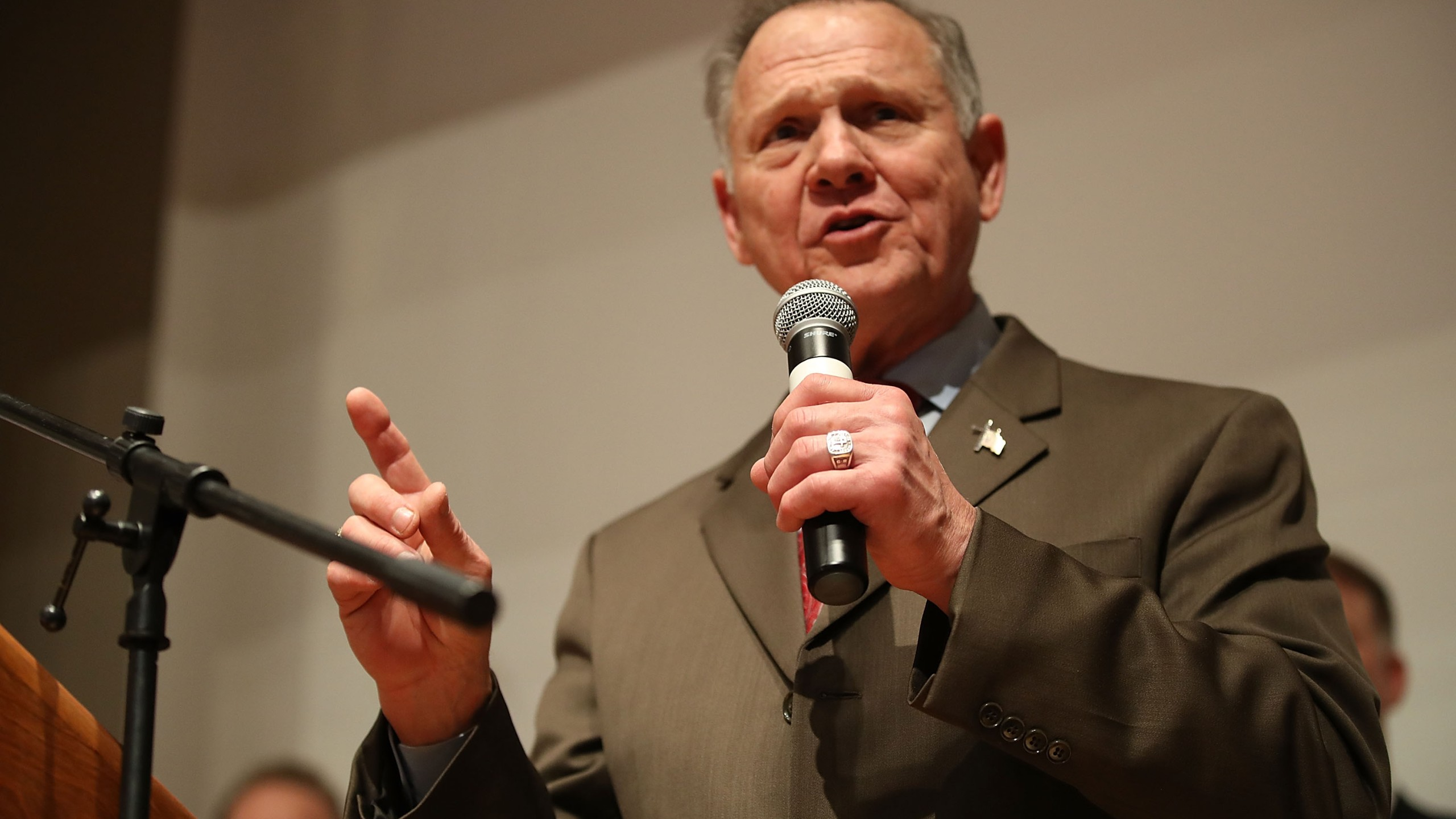 Republican Senatorial candidate Roy Moore speaks about the race against his Democratic opponent Doug Jones on Dec. 12, 2017 in Montgomery, Alabama. (Credit: Joe Raedle/Getty Images)