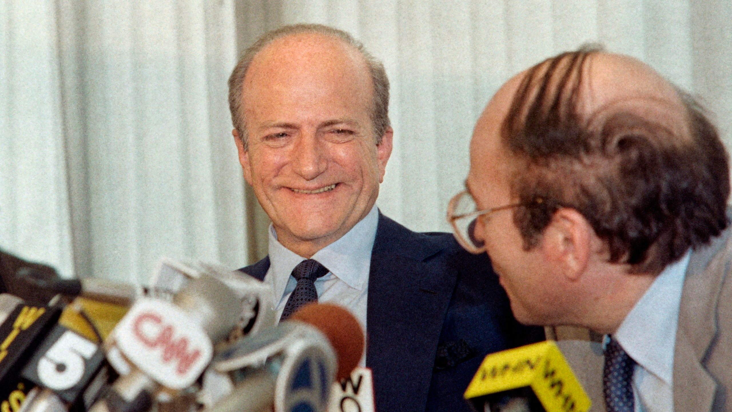 Socialite Claus von Bülow, accused of the attempted murder of his wife Sunny von Bülow in 1979, is seen during a New York press conference on June 11, 1985. (Credit: Susan May Tell / AFP / Getty Images)