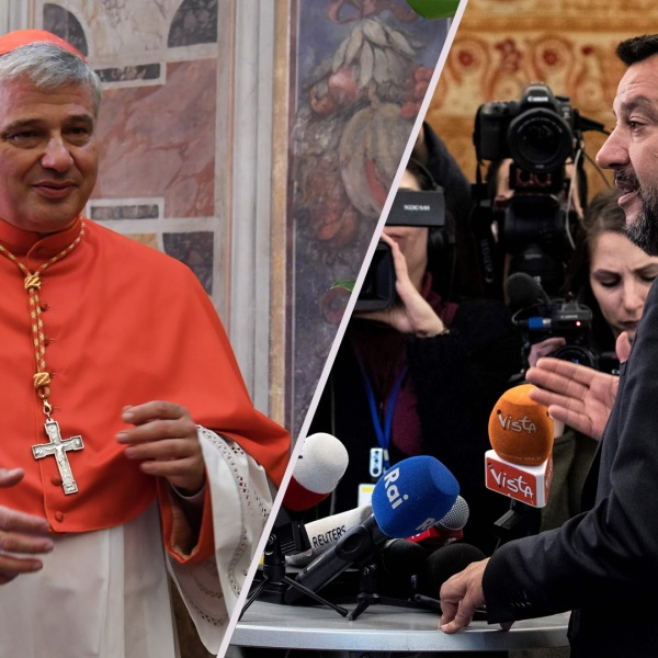 Cardinal Konrad Krajewski from Poland, is seen in a side-by-side image with Italy's Deputy Prime Minister Matteo Salvini. (Credit: ANDREAS SOLARO/AFP/Getty Images, and KENZO TRIBOUILLARD/AFP/Getty Images)