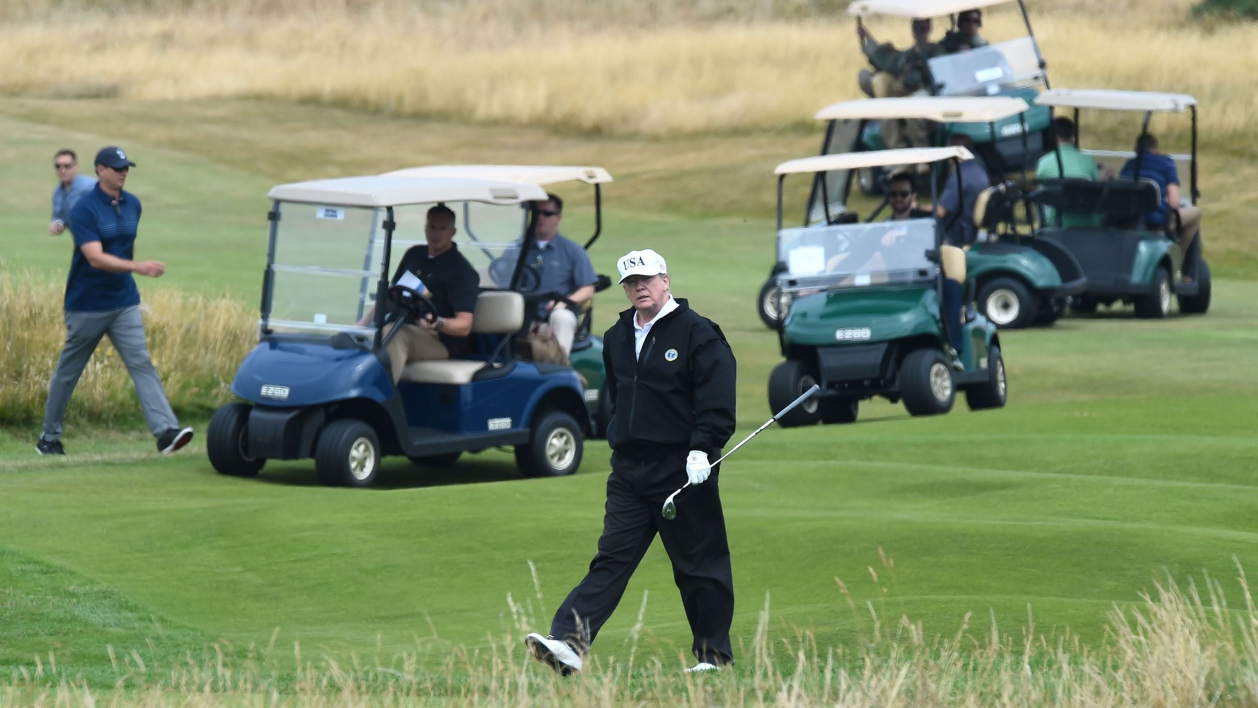 Donald Trump walks during a round of golf at Trump Turnberry southwest of Glasgow, Scotland on July 14, 2018. (Credit: ANDY BUCHANAN/AFP/Getty Images)