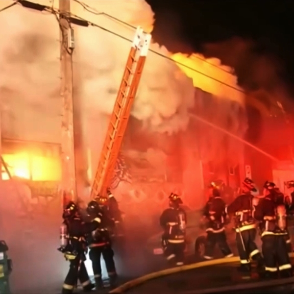 Firefighters battle a deadly blaze at the Ghost Ship warehouse in Oakland on Dec. 5, 2016. (Credit: KGO via CNN)
