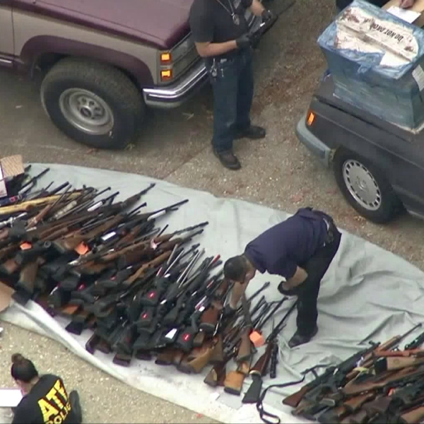 Hundreds of guns were seized from a Bel-Air mansion on May 8, 2019. (Credit: KTLA)