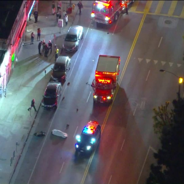 A pedestrian was struck and killed by a hit-and-run driver on Melrose Avenue in the Fairfax neighborhood of Los Angeles on May 15, 2019. (Credit: KTLA)