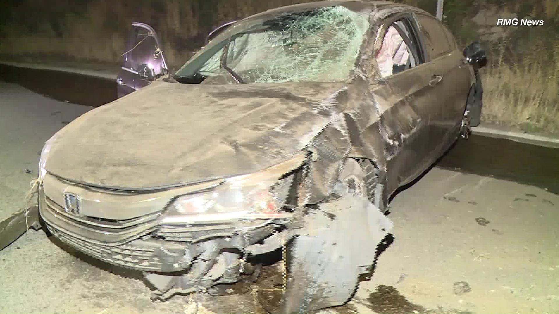 A Honda Accord is seen following a hit-and-run crash in Shadow Hills on May 8, 2019. (Credit: RMG News)