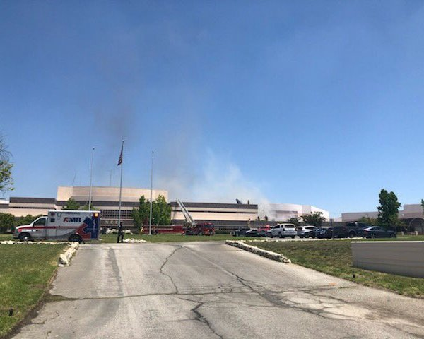 The L.A. County Sheriff's Department tweeted this photo of a fire at the North County Correctional Facility on May 30, 2019.
