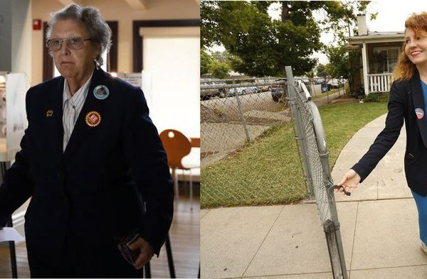 From left: Jackie Goldberg votes at a polling station, and Heather Repenning walks door to door canvassing in the Highland Park area after casting her own ballot on May 14, 2019. (Credit: Francine Orr / Al Seib / Los Angeles Times)