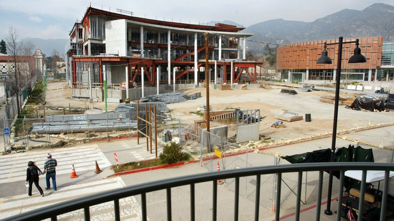 The Media Arts Building, left, shown under construction in 2012, alongside the completed Culinary Arts Institute, right, on the campus of Los Angeles Mission College in Sylmar. The campus is part of the Los Angeles Community College District. (Credit: Mel Melcon / Los Angeles Times)