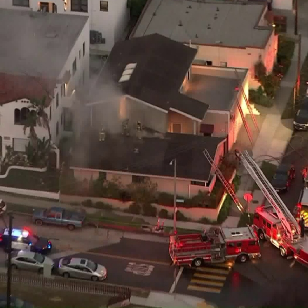 Firefighters respond to a blaze at a sorority house near California State University Long Beach on May 6, 2019. (Credit: Sky5)