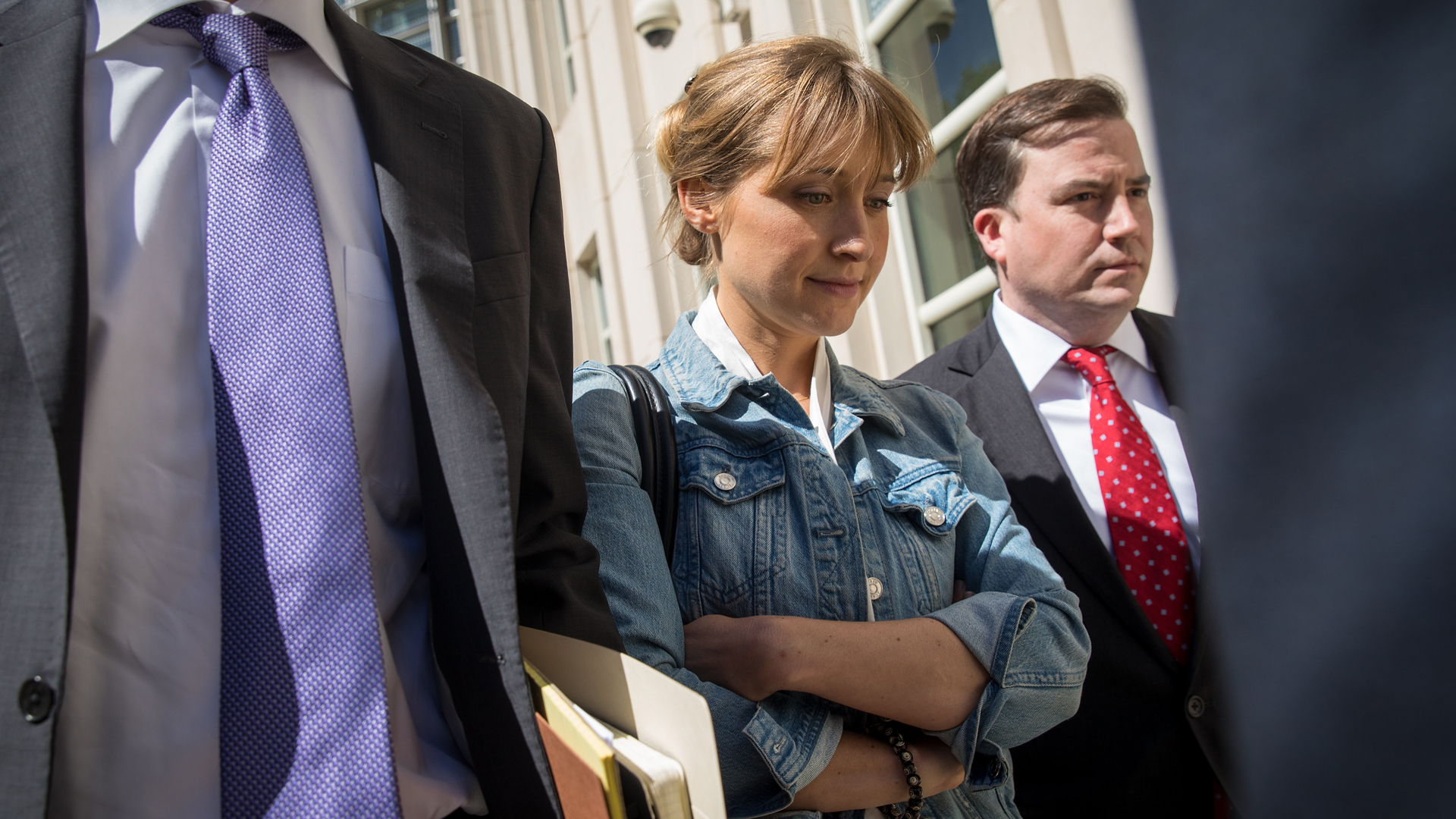 Actress Allison Mack exits the U.S. District Court for the Eastern District of New York following a status conference, June 12, 2018 in the Brooklyn borough of New York City. (Credit: by Drew Angerer/Getty Images)
