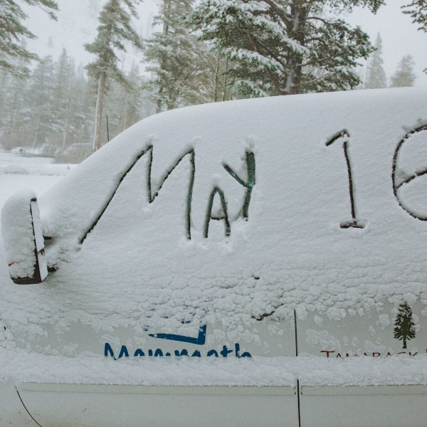 A spring storm brought fresh powder to Mammoth Mountain on May 16, 2019. (Credit: Peter Morning/ MMSA)
