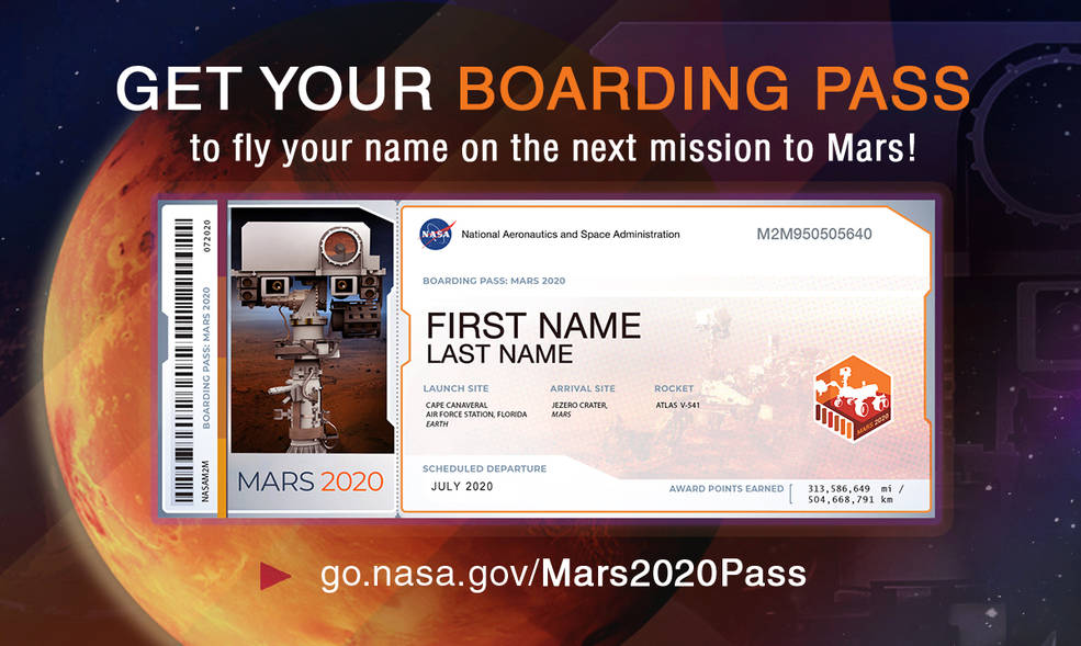 Members of the public who want to send their name to Mars on NASA's next rover mission to the Red Planet (Mars 2020) can get a souvenir boarding pass and their names etched on microchips to be affixed to the rover. (Credit: NASA/JPL-Caltech)
