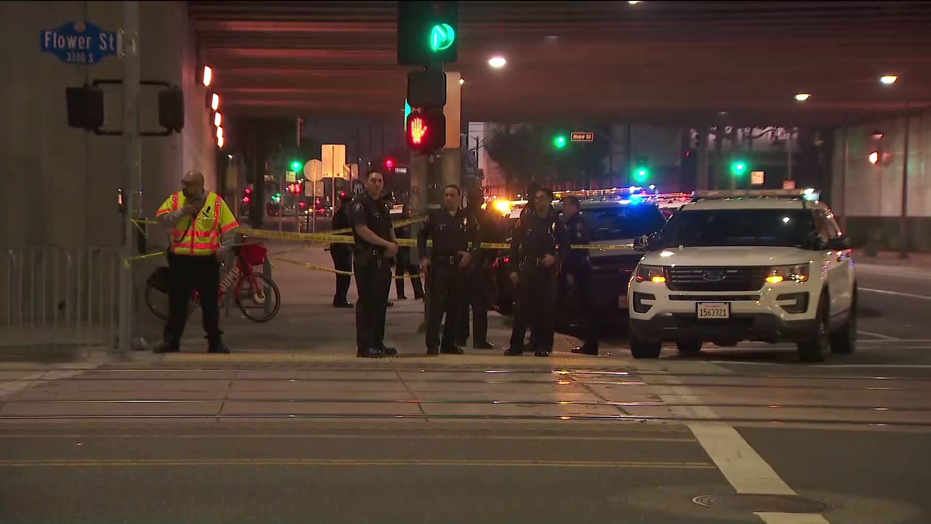 Los Angeles police investigate a stabbing that took place on a Metro train near USC on May 3, 2019. (Credit: KTLA)