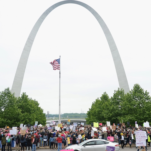 Hundreds of women and supporters attend a protest rally over recent restrictive abortion laws on May 21, 2019 in St Louis, Missouri. (Credit: Michael B. Thomas/Getty Images)