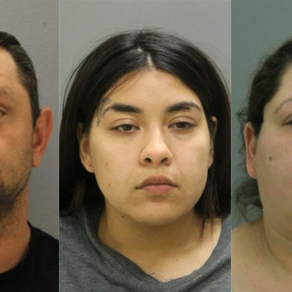 Piotr Bobak, left, Desiree Figueroa, center, and Clarisa Figueroa, right are seen in booking photos released by Chicago police and obtained by KTLA sister station WGN.