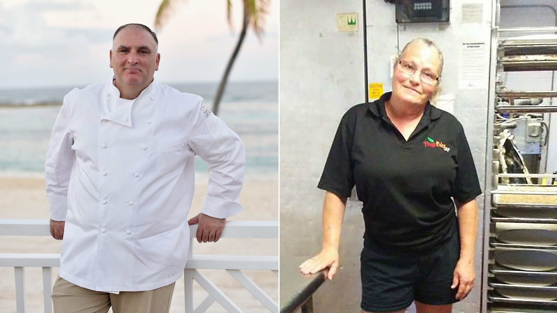 Chef Jose Andres, left, and Bonnie Kimball, right, are seen in photos from Getty Images and CNN Wire.