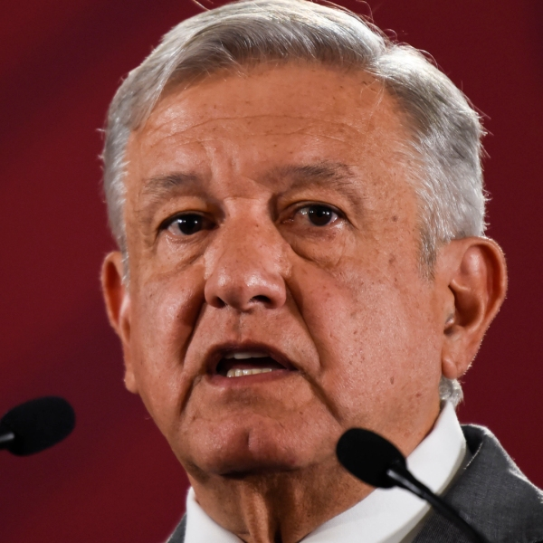 Mexican President Andrés Manuel López Obrador speaks during his morning press conference at the National Palace in Mexico City, on May 31, 2019. (Credit: ALFREDO ESTRELLA/AFP/Getty Images)
