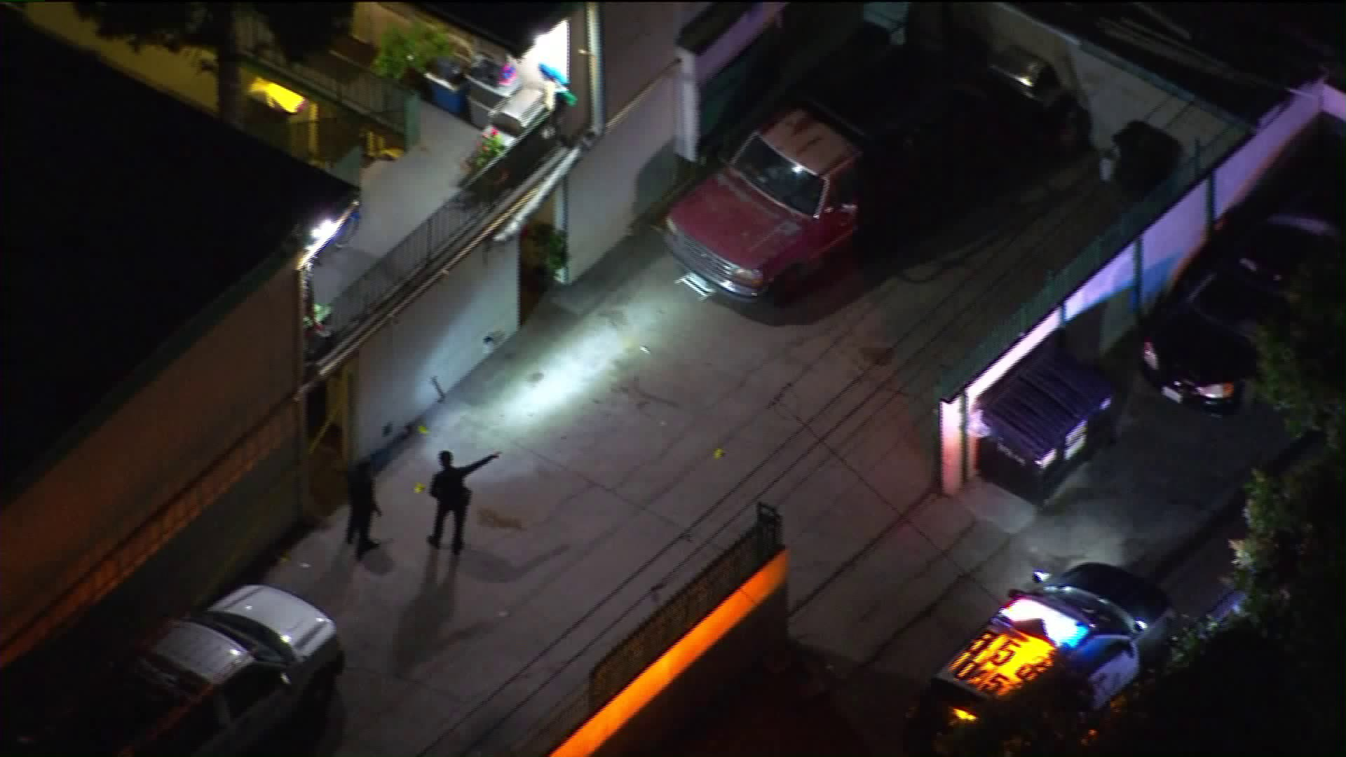 Police investigate the scene of an officer-involved shooting in Harbor City on May 27, 2019. (Credit: KTLA)