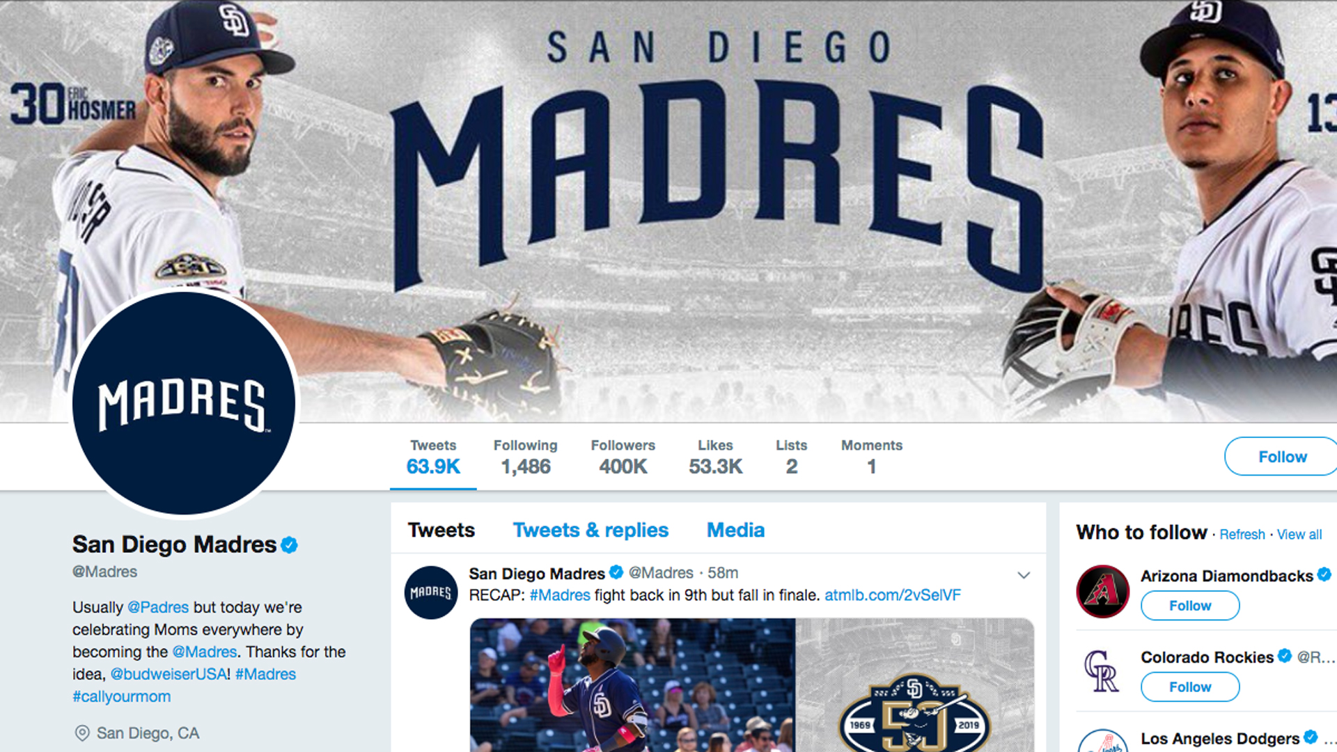 "A screenshot of the Twitter page for the San Diego Padres, who changed their name to ""Madres"" for Mother's Day, is seen on the holiday, May 12, 2019."