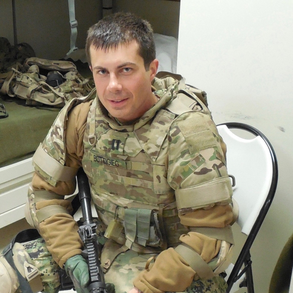 Pete Buttigieg was an intelligence officer with the Navy Reserve from 2009 until 2017, and he served in the war in Afghanistan. (Credit: Pete Buttigieg Campaign)