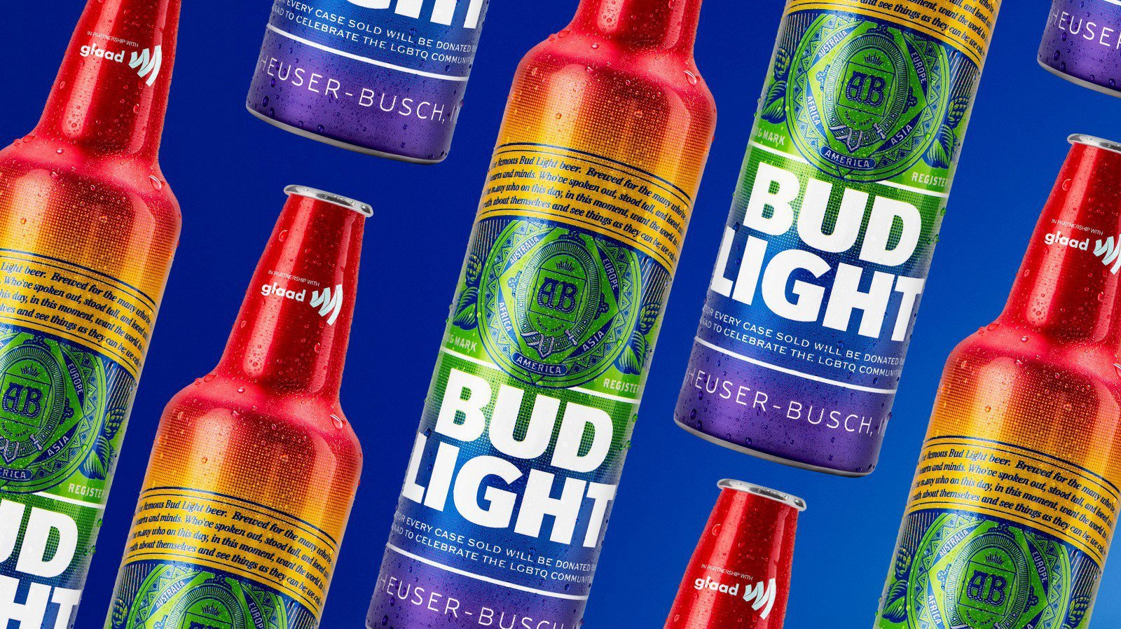 Bud Light will sell rainbow-colored aluminum bottles in bars nationwide from May 27 to June 30 and donate to GLAAD $1 from each case sold. (Credit: GLAAD)