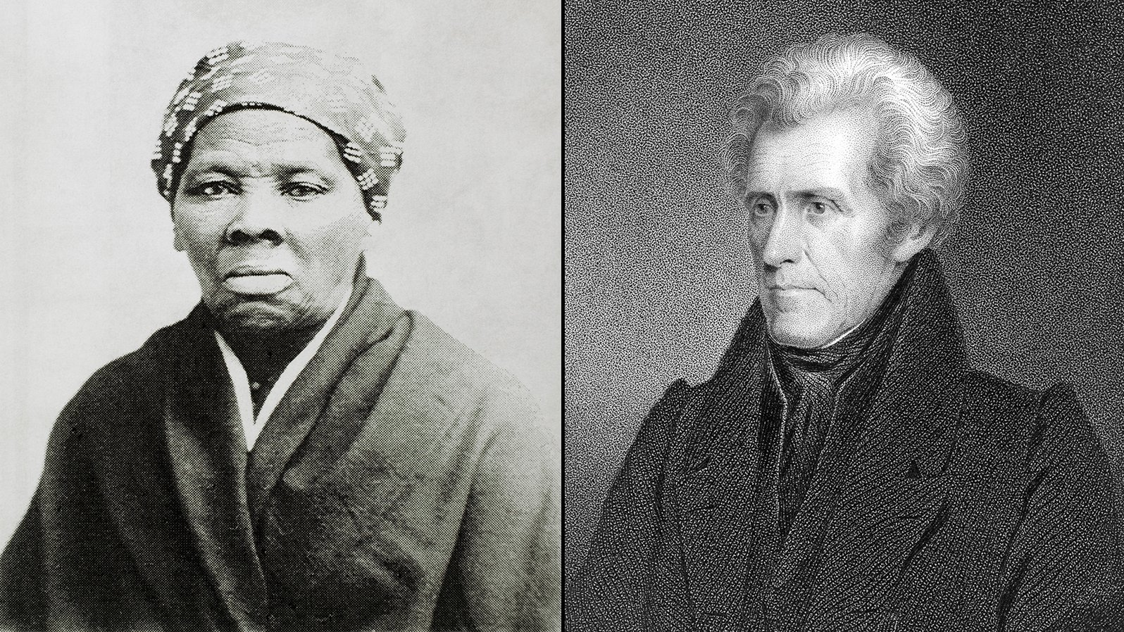 On left, abolitionist heroine Harriet Tubman is pictured. On right, former President Andrew Jackson appears. (Credit: Getty Images via CNN)