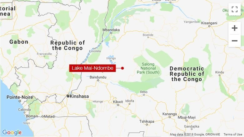 The approximate location of a boat capsizing that left at least 30 dead and dozens missing in a lake in the Democratic Republic of Congo, is seen in this map image from CNN.