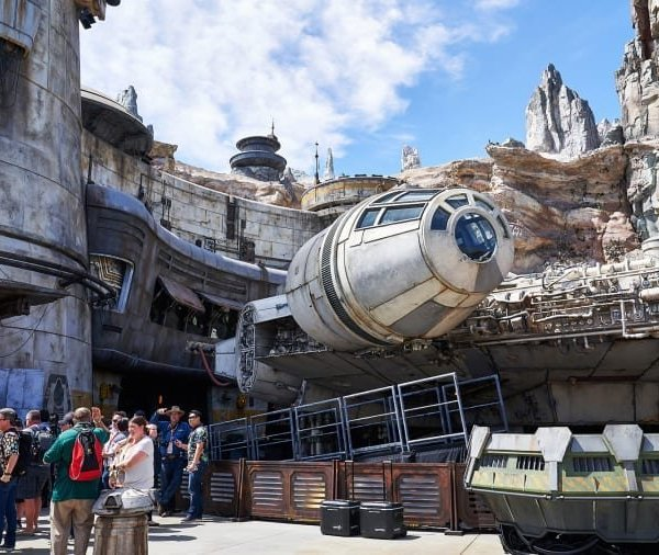 As it opens, the signature attraction and ride at Disneyland's Galaxy's Edge is the full-scale, 100-plus-foot-long, movie-perfect Millennium Falcon. (Credit: Michelle Groskopf for CNN)