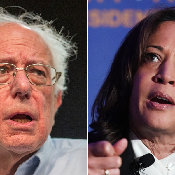 From left: Sens. Bernie Sanders and Kamala Harris speak at the Unity Freedom Presidential Forum in Pasadena on May 31, 2019. (Credit: David McNew / Mark Ralston / Getty Images)