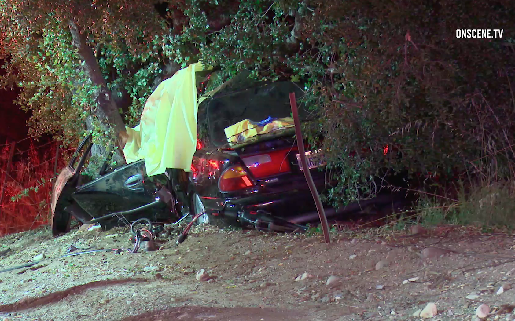 A vehicle slammed into a tree in Silverado Canyon on May 25, 2019. (Credit: Onscene.tv)