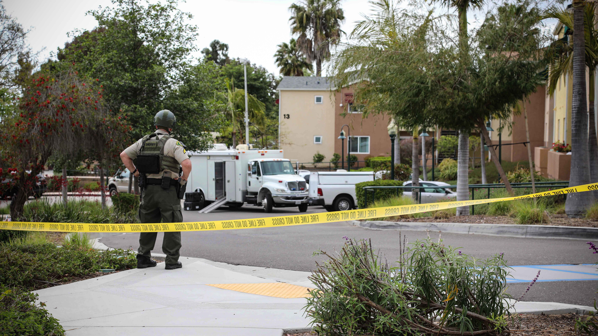 Authorities work at the scene of a shootout between police and a suspect in Santa Barbara on May 7, 2019. The suspect was ultimately found dead. (Credit: Santa Barbara County Sheriff's Office)