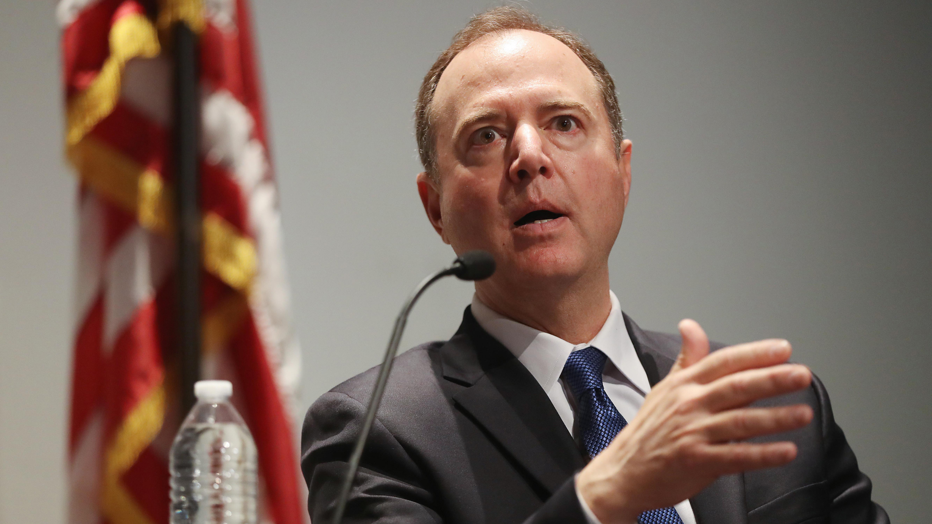 Chairman of the House Intelligence Committee Adam Schiff (D-CA) speaks at a discussion on 'constitutional clash' and the separation of powers on May 30, 2019 in Los Angeles. (Credit: Mario Tama/Getty Images)