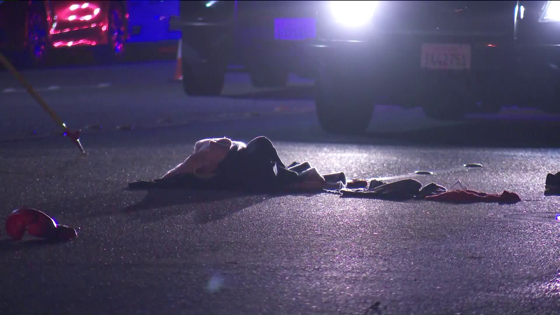 Police investigate a collision that left a boy on a scooter badly injured in Garden Grove on May 1, 2019. (Credit: KTLA)