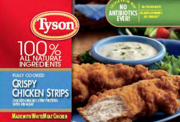 A label for Tyson's fully cooked crispy chicken strips appears in an image released by by the U.S. Department of Agriculture on May 4,, 2019.