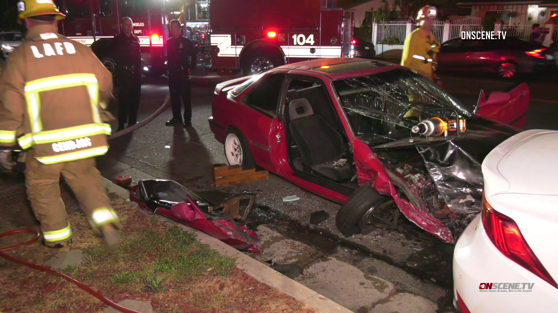 A vehicle involved in a suspected DUI crash in Northridge is seen on May 11, 2019. (Credit: ONSCENE.TV)