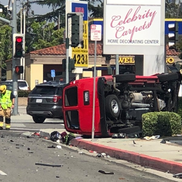 An overturned van is seen after a collision in Beaumont on May 11, 2019. (Credit Beaumont Police Department)