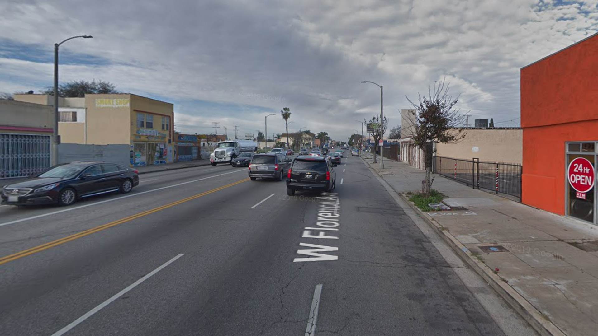 The 1600 block of West Florence Avenue in South Los Angeles, as pictured in a Google Street View image in February of 2019.