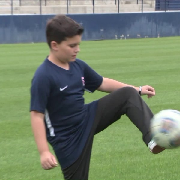 Nikolai Greco, an 11-year-old cancer patient from Mission Viejo, was formally drafted onto the Cal State University, Fullerton soccer team on May 9, 2019. (Credit: KTLA)