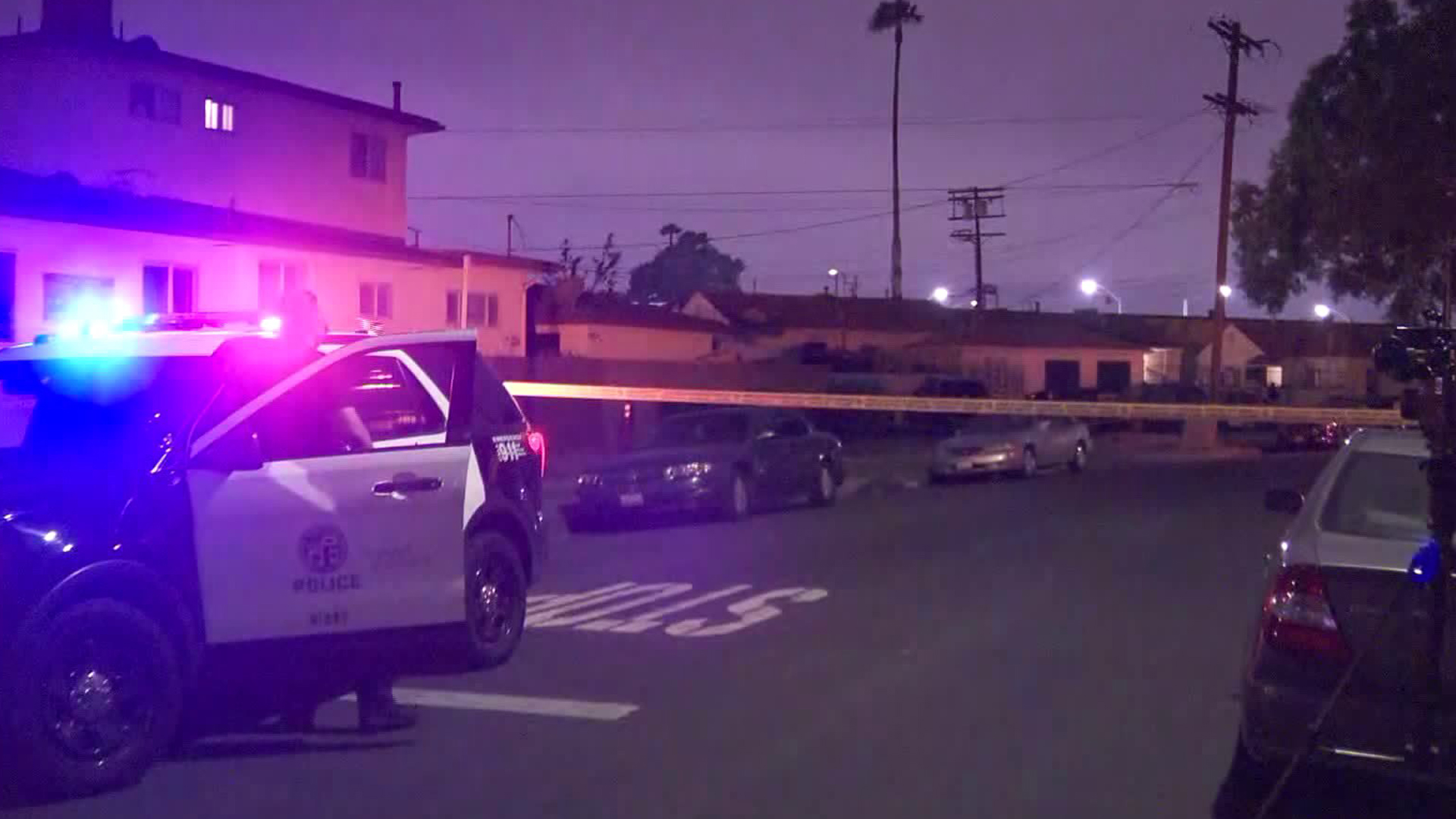 The scene in South L.A. where a suspected murder-suicide was reported May 13, 2019, is seen here. (Credit: KTLA)