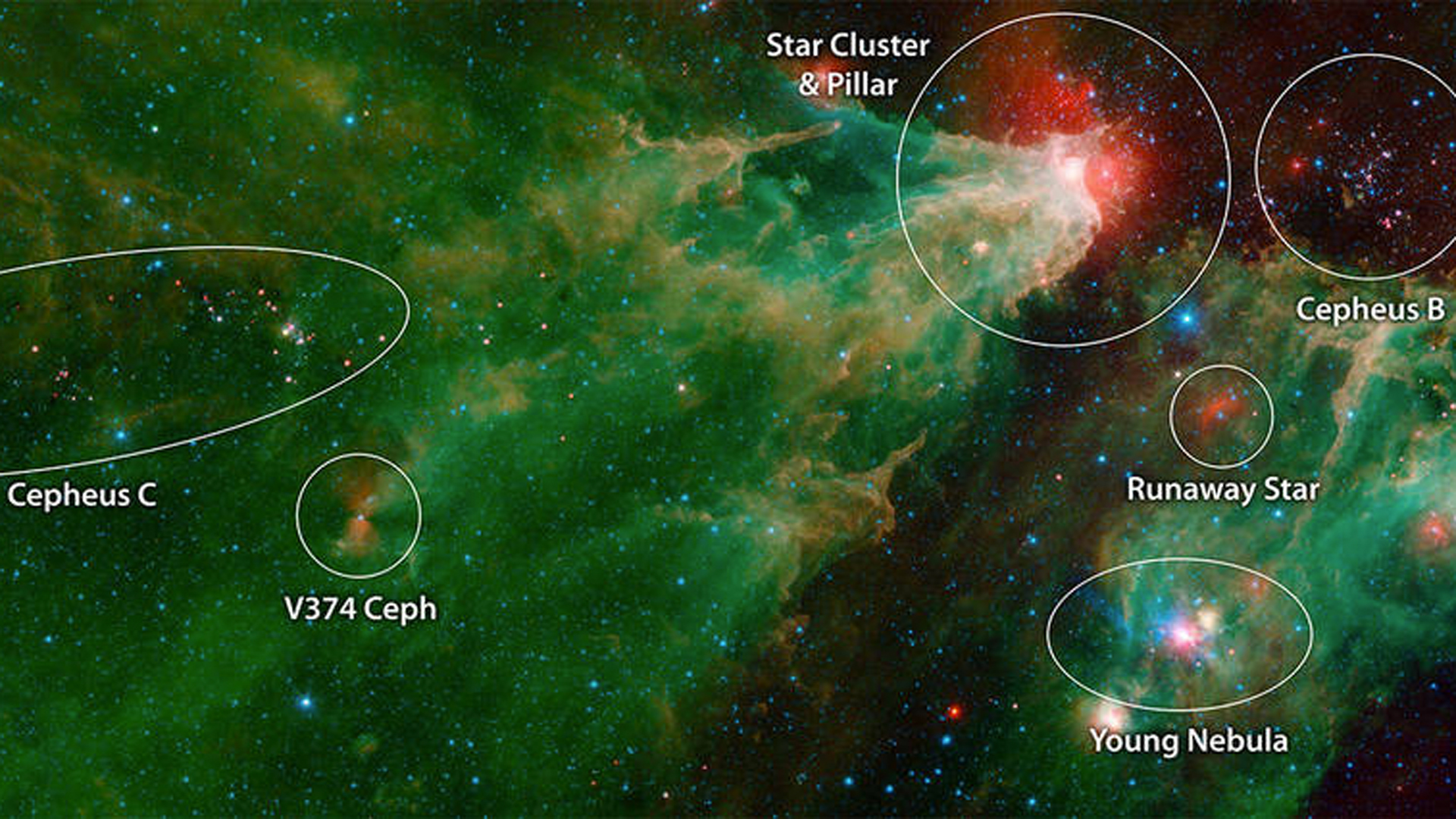 An annotated mosaic by NASA's Spitzer Space Telescope of the Cepheus C and Cepheus B regions. (Credit: NASA)