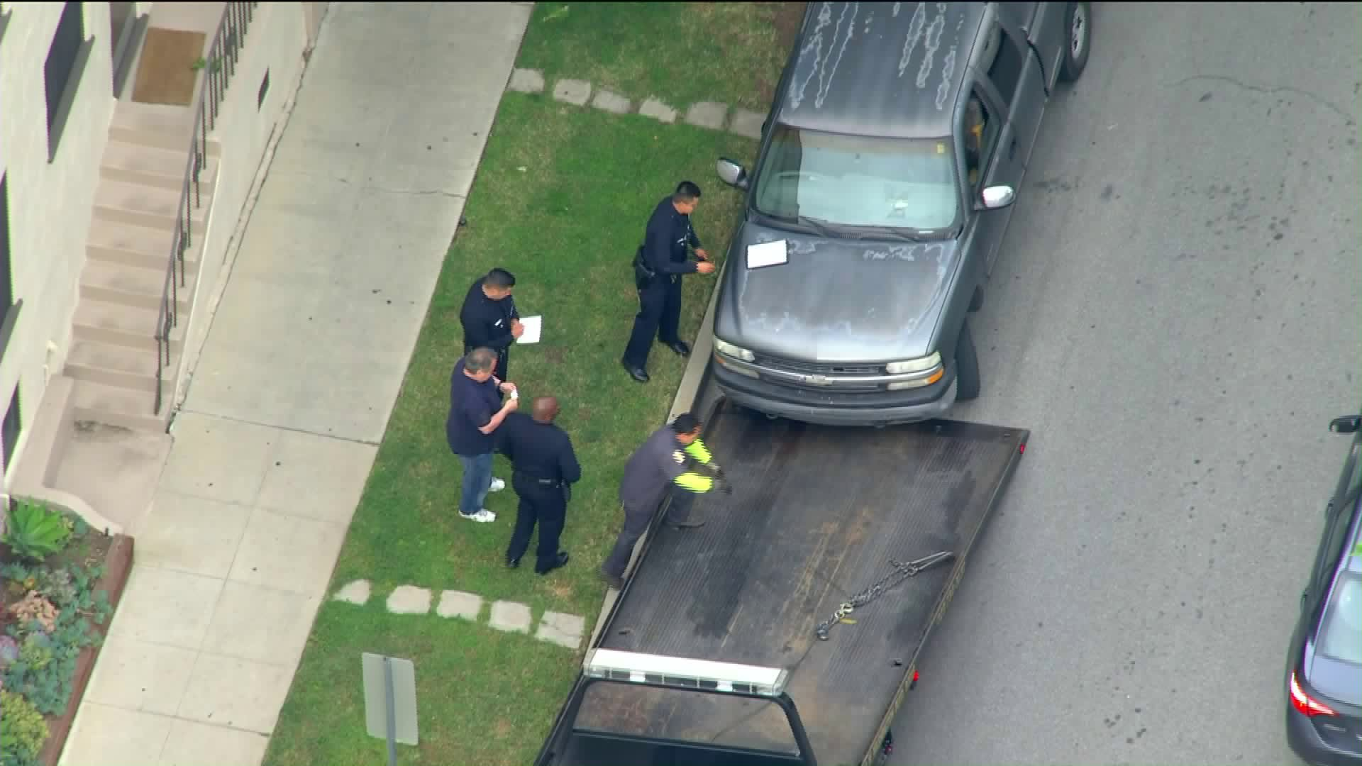 A pickup truck was recovered in Beverly Hills after it was carjacked in L.A's Mid-Wilshire neighborhood two hours earlier with a 7-year-old boy inside on May 23, 2019. The suspect and the child remained missing. (Credit: KTLA)