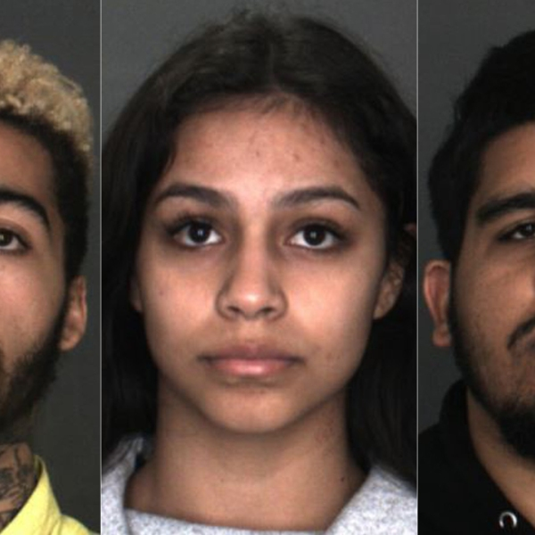Rahim James Parker, 22, (left) Zoe Ramirez, 19 (center) and Ricardo Nicholas Ramkissoon, 23, (right) are seen in undated booking photos provided by the Rancho Cucamonga Police Department on May 9, 2019.