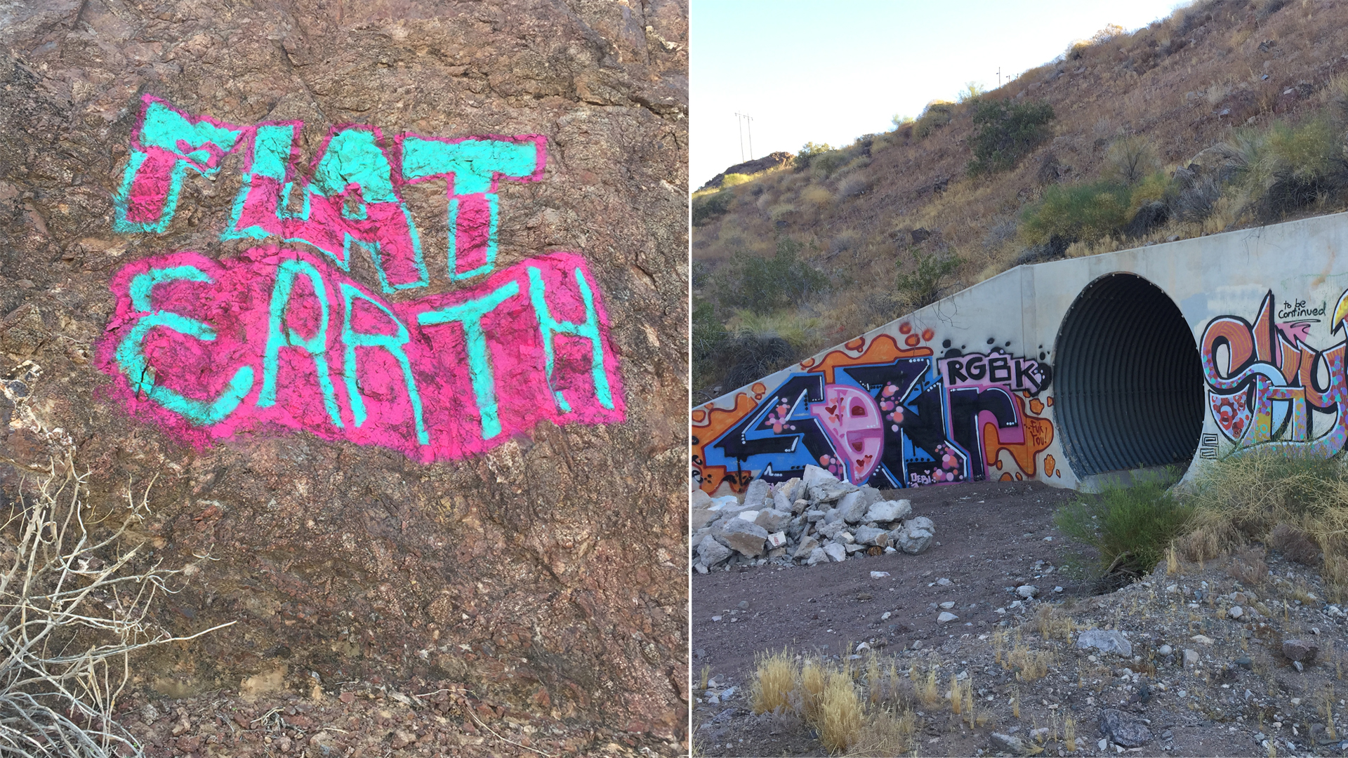The graffiti Skyler Gene Butts is suspected of creating is seen in undated photos provided by the San Bernardino County Sheriff's Department on May 24, 2019.