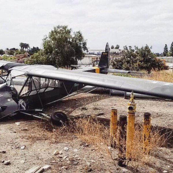 The plane is shown in an image tweeted by the Upland Police Department on May 1, 2019.