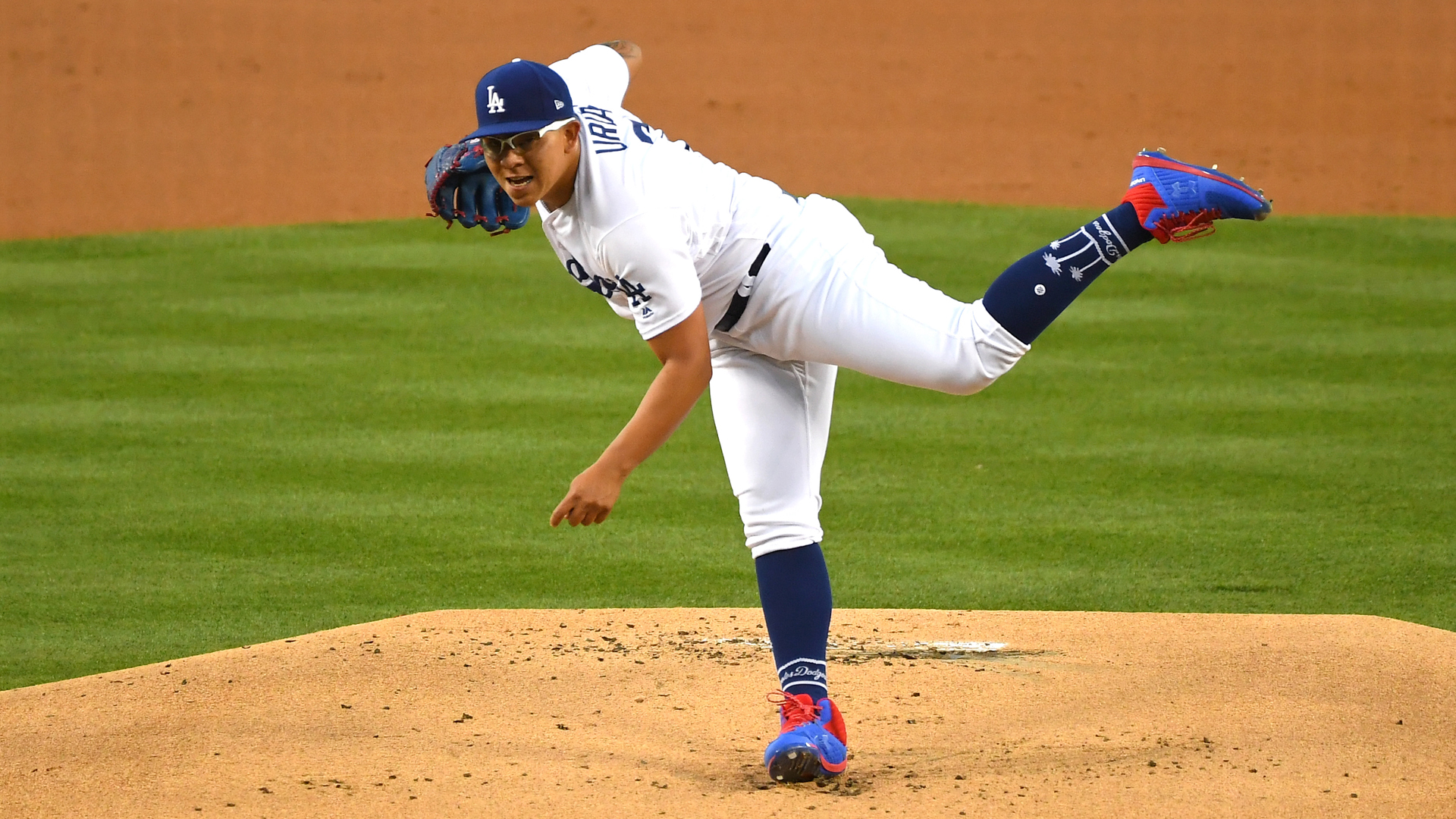 Julio Urias of the Los Angeles Dodgers pitches in the first inning of the game against the Milwaukee Brewers at Dodger Stadium on April 12, 2019. (Credit: Jayne Kamin-Oncea/Getty Images)