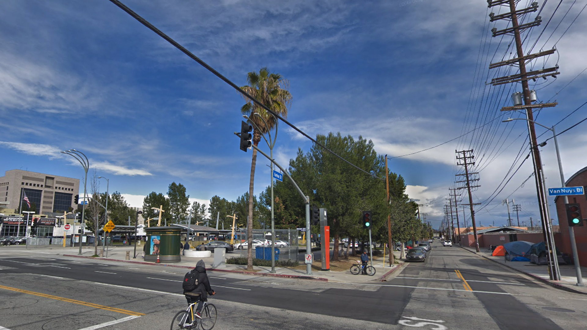 The intersection of Aetna Street and Van Nuys Boulevard in Van Nuys is seen in a Google Maps Street View image from February 2019.